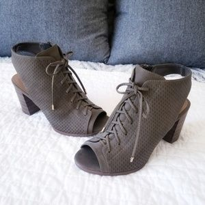 Shoes - Chunky heeled lace up booties boots
